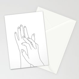 Hands line drawing illustration - Dawn Stationery Cards