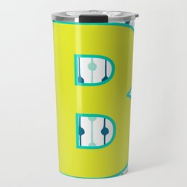 Letter B Monogram Blue, Green and Yellow with Pattern Travel Mug