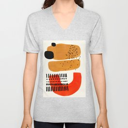 Mid Century Modern Abstract Minimalist Retro Vintage Style Fun Playful Ochre Yellow Ochre Orange Sha Unisex V-Neck