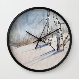 Winter Birches Wall Clock