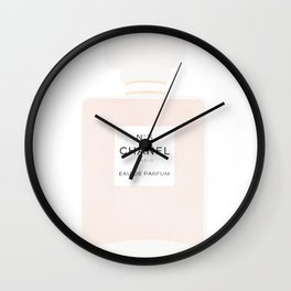 pink and gold perfume Wall Clock