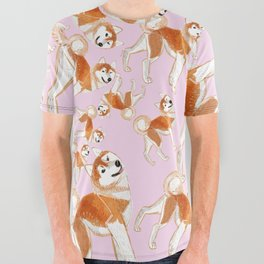 Akita Inu (Pattern) All Over Graphic Tee