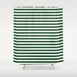 Original Forest Green and White Rustic Horizontal Tent Stripes Shower Curtain