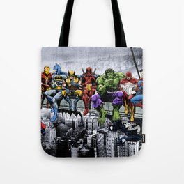 Superhero Lunch Atop A Skyscraper Tote Bag