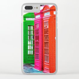 A Row of Brightly Colored Telephone Boxes Clear iPhone Case