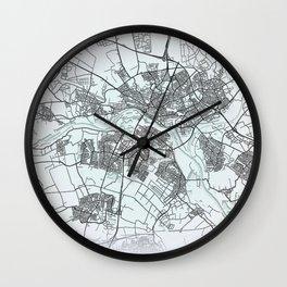Arnhem, Netherlands, White, City, Map Wall Clock