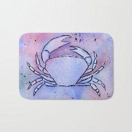 Crab Watercolor Mixed Media Art Bath Mat
