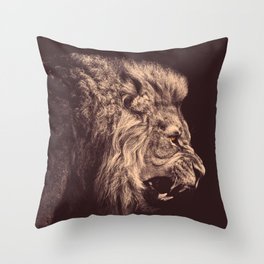 lion pencil art lion roar black and white Throw Pillow
