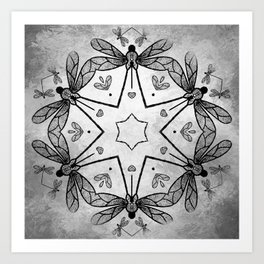 Magical kaleidoscope of dragonflies Art Print