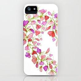 Heart themed- Sweet Pea Heart Wreath iPhone Case