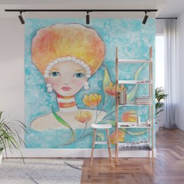 Whimiscal Big Hair Girl Wall Mural