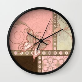 Butterfly Scroll Damask Lace Swirl Polka Dot Modern Pattern Watercolor Art Wall Clock