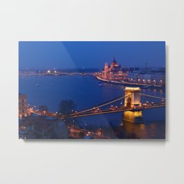 Panorama of Budapest, Hungary, with the Chain Bridge and the Parliament. Metal Print