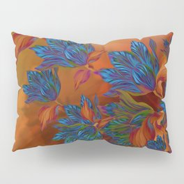 """Blue flowers on orange silk"" (Air Spring at night) Pillow Sham"