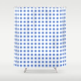 Gingham Pattern in palace blue Shower Curtain