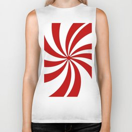 festive winter holiday candy land red and white lollipop candy swirls Biker Tank