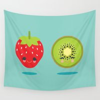 kiwi Wall Tapestries featuring Strawberry Kiwi by Steph Dillon