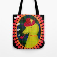 the hound Tote Bags featuring smoking hound by Elisandra