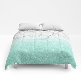 Azure Glitter and Grey Marble Comforters