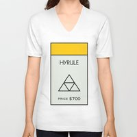 hyrule V-neck T-shirts featuring Hyrule Monopoly location by HuckBlade