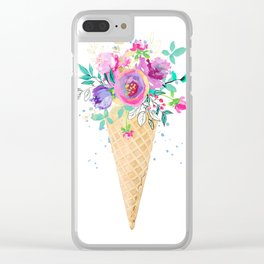 Flower bouquet ice cream cone Clear iPhone Case