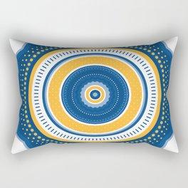 Blue and Yellow Mandala Rectangular Pillow