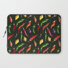 Ink and watercolor hot chillies pattern on green background Laptop Sleeve