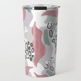 Abstract coral pink green black watercolor pattern Travel Mug