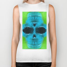 psychedelic skull art geometric triangle abstract pattern in blue and green Biker Tank