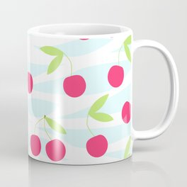Seamless cherry pattern on striped Coffee Mug