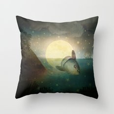 The Fish That Stole The Moon Throw Pillow