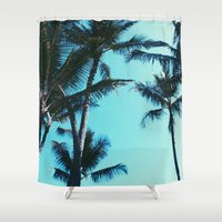 palm trees Shower Curtains featuring Palm Trees by Alexandra Str