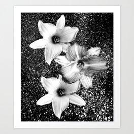 White Lilies on Black Glitter #1 #floral #decor #art #society6 Art Print