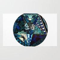 pentagram Area & Throw Rugs featuring Blue Toned Pentagram by Nix Hunt