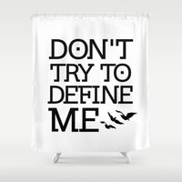 divergent Shower Curtains featuring Don't Try to Define Me - Divergent by All Things M