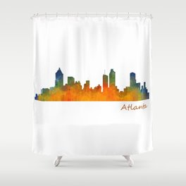 Atlanta City Skyline watercolor Hq v1 Shower Curtain