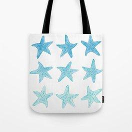 Blue Watercolor Starfish Tote Bag