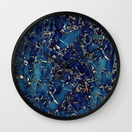 Dark blue stone marble abstract texture with gold streaks Wall Clock