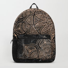 Mandala - rose gold and black marble 4 Backpack
