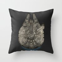 millenium falcon Throw Pillows featuring Millennium Falcon by Eric Dufresne