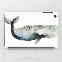 craftberrybush iPad Cases featuring whale- watercolor by craftberrybush