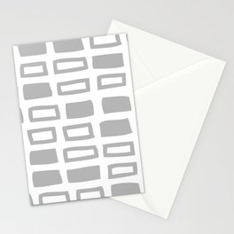 Mid Century Modern Abstract Squares Pattern 442 Gray Stationery Cards