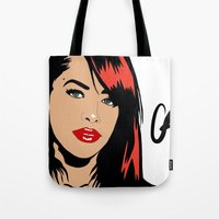 aaliyah Tote Bags featuring Aaliyah with red  by NelxArt