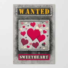 Wanted Sweetheart Poster Canvas Print