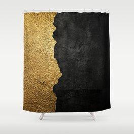 Gold torn & black grunge Shower Curtain