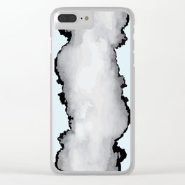 Light Blue Gray and Black Graphic Cloud Effect Clear iPhone Case