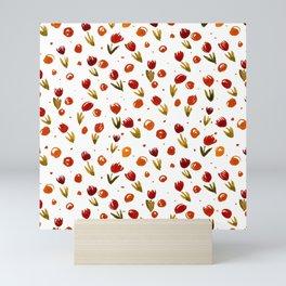 Watercolor tulips pattern - red and sap green Mini Art Print