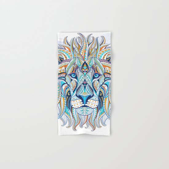 Blue Ethnic Lion Hand & Bath Towel