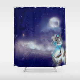 Man Cyborg Machine Shower Curtain