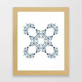 Blue Floral Heart Tile Framed Art Print